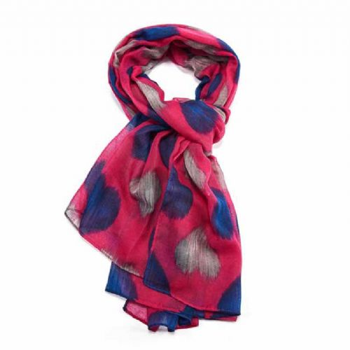 Lua Designs Faded Heart Print Beautiful Soft Scarf in Pink